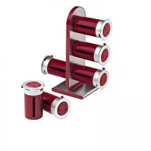 Especiero Rojo Torre Magnética 6 Frascos Marca Zevro Modelo MSR-603