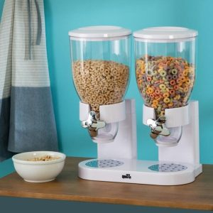 Dispensador Doble de cereal color Blanco Zevro