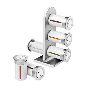 Especiero Blanco Torre Magnética 6 Frascos Marca Zevro